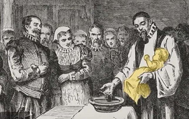 Křest Virginie Dare, první Angličanky narozené na území Ameriky