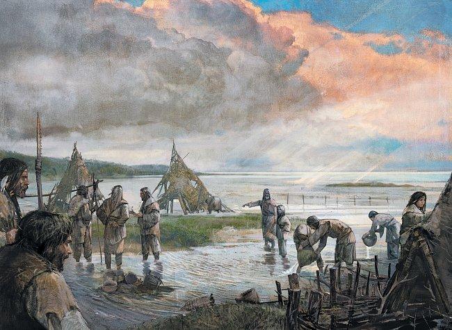 8 000 let př. n. l.: Skupina lovců-sběračů se před bouří stáhla do vnitrozemí Doggerlandu, po návratu však našla své tábořiště pod vodou. Nakonec už tu nebyla místa, kam by se dalo vkročit suchou noho