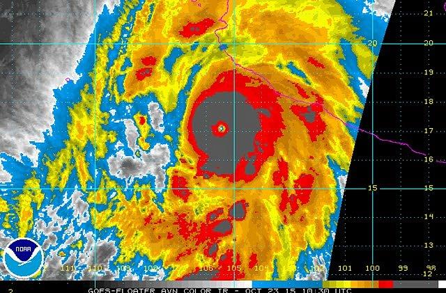 Satelitní snímek hurikánu Patricia