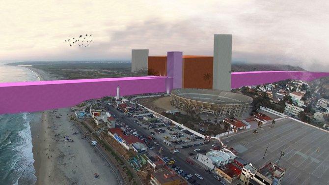 Návrh mexických architektů představil pod názvem Nádherná zvrácenost gigantickou růžovou zeď.