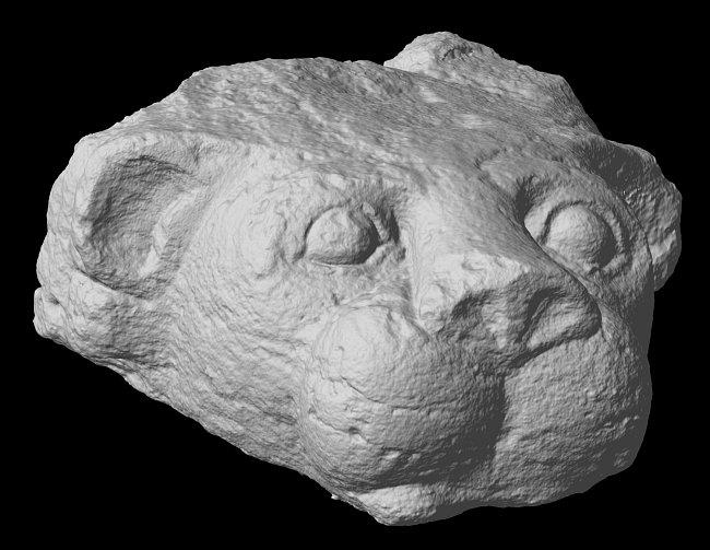 Trojrozměrný sken chrliče objeveného archeologickou expedici.