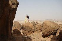 Geodetické měření na lokalitě Sfinga, pohoří Sabaloka, výzkumy ČEgÚ.