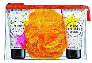 Cestovní souprava do sprchy Mini Pouch Nice Sephora Cream se sprchovým gelem, tělovým mlékem a houbičkou, Sephora, 50 ml + 50 ml 270 Kč