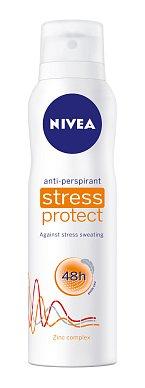 Antiperspirant ve spreji Stress Protect, Nivea, extrémní ochrana proti pocení ve stresových situacích, kdostání i jako tuhý stick, nebo roll-on, vdámské i pánské verzi, cena 89,90 Kč