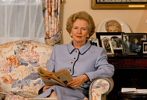 THATCHER DOWNING STREET MARGARET THATCHER SAT IN THE LIVING ROOM READING A BOOK 1989