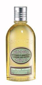 Sprchový olej Mandle, který po kontaktu s vodou vytvoří pěnu, ale hladkou olejovou, která je na holení ideální, L'Occitane, cena 500 Kč.