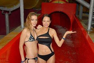 Sabina Křováková a Karolína Krézlová si v aquparku užily hodně legrace.