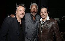 Režisér Wally Pfister, Morgan Freeman and Johnny Depp