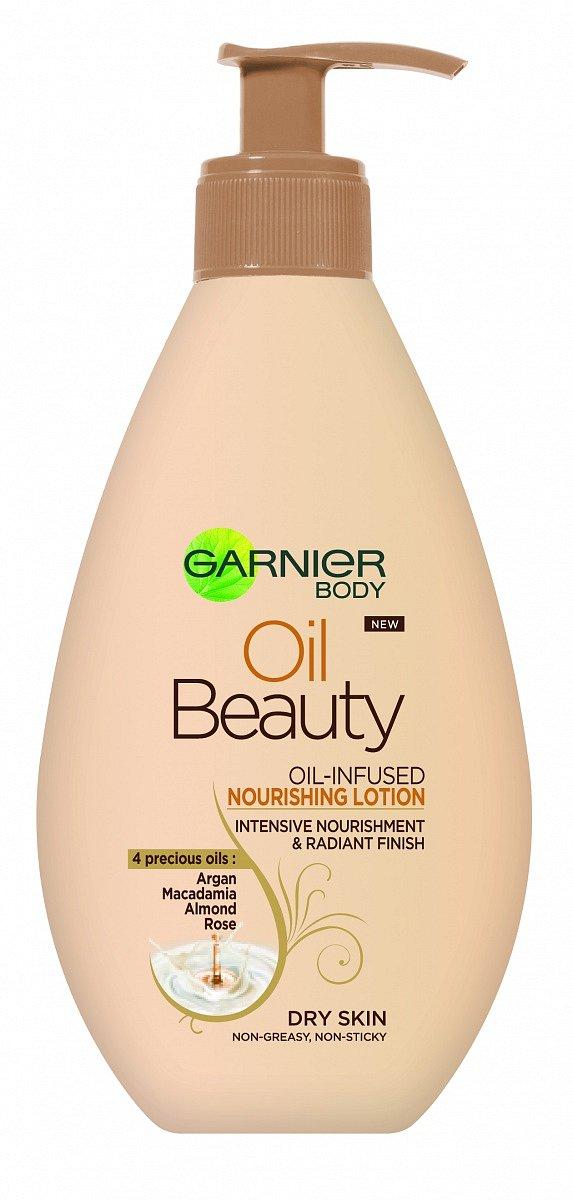 Vyživující olejové tělové mléko Garnier Beauty oil, cena 160 Kč.