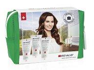 Cestovní balení kosmetiky Revalid, která je určena pro poškozené vlasy. V balíčku je šampon, kondicionér a intenzivní obnovující péče (maska). Obsahuje složky, které podporují obnovu buněk ve vlasové ppokožce a zklidňují ji. Cena 229 Kč.