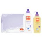 Dárková kazeta pro pokožku se sklonem k atopii obsahuje zklidňující tělové mléko a čistící a zklidňující olej, Mixa, cena 279 Kč.