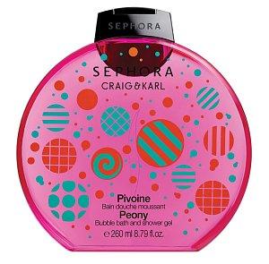 """Bubble bath & Shower gel Craig & Karl. Koupelová a sprchová pěna Sephora s pivoňkovou vůní v pestrobarevném """"pop"""" obalu. Cena 220 Kč."""