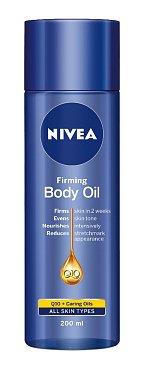 Nivea zpevňující tělový olej Q10 plus intenzivně vyživuje, hydratuje a obnovuje pokožku, www.nivea.cz, 200 ml za 250 Kč.
