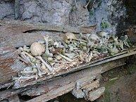 Pohřebiště kmene Torajů v jeskyni na Celebesu