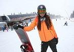 Agáta si v Tatrách užívala hlavně na snowboardu.
