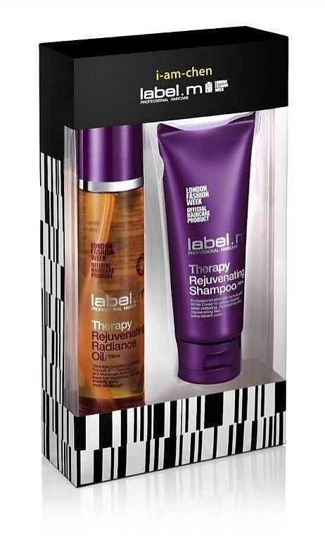Kosmetický balíček, kde najdete produkty THERAPY REJUVENATING OIL a šampón, label.m, cena 879,-
