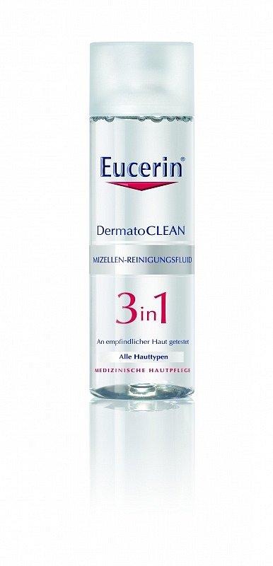 Čisticí micelární voda 3v1 DermatoCLEAN Eucerin. Cena 249 Kč.