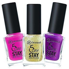 Lak 5 Day Stay Nail Polish vám opravdu vydrží minimálně pět dní! Vybírat můžete z pětadvaceti odstínů. (Dermacol, 11 ml 99 Kč)