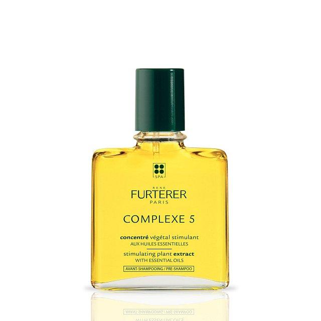 Rostliný extrakt na vlasy, používá se na pokožku před mytím hlavy - čistí ji a zvyšuje mikrocirkulaci, René Furterer Complexe 5, cena 1099 Kč.