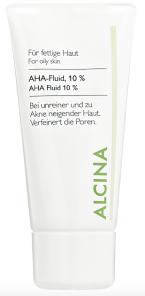 Jemný chemický peeling AHA Fluid s obsahem 10 % ovocných kyselin, Alcina, 50 ml 480 Kč