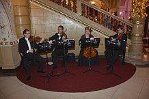 O hudbu nebylo nouze – vedle hlavního schodiště hosté obdivivali známé hity popmusic v klasickém provedení a nejeden nadšený pár se dal do tance.