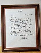 Vzkaz od kolegy Formana si dal Jiří za rámeček