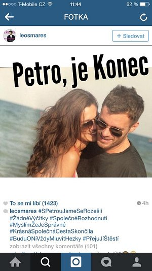 Leoš Mareš se zase rozešel s Petrou Faltýnovou, tentokrát prý definitivně.
