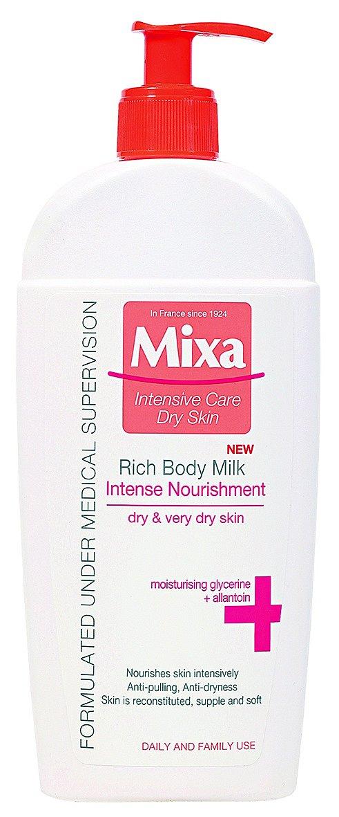 Intenzivní vyživující mléko pro vysušenou pokožku, Rich Body Milk, Mixa, 180 Kč.