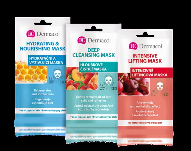 Textilní masky 3D Dermacol, různé druhy, cena 69 Kč.