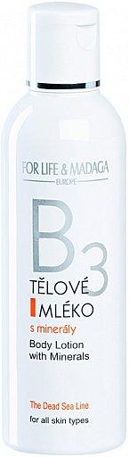 B3 tělové mléko s minerály Mrtvého moře. Dokonale do hloubky hydratuje a zvláčňuje pokožku. Cena 217 Kč.