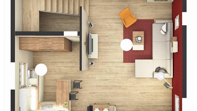 Návrh obytného prostoru s obývací a jídelní zónou a kuchyní – Přezletice.