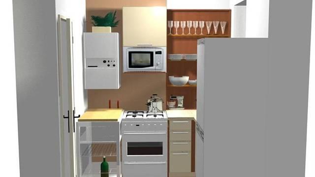 Rekonstrukce kuchyně v baťovském čtvrtdomku - varianta B