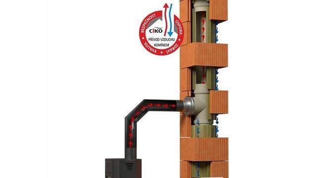 Systémový komín CIKO TEC s přívodem vzduchu pod podlahou a nasáváním z komínového tělesa.