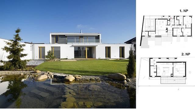 Individuální řešení Slaný (Program Porotherm dům) Počet místností 5+kk, 2+kk, dvojgaráž, zastavěná plocha 236,0 m2, podlahová plocha 177,8 m2