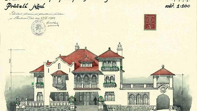 Základem architektonického ztvárnění nové stavby byly prvky maurského slohu. Pro námět svého budoucího rodinného sídla si ale architekt nejel do Španělska. Byla to Amerika a stavbu provedl jako kopii podle amerického časopisu.