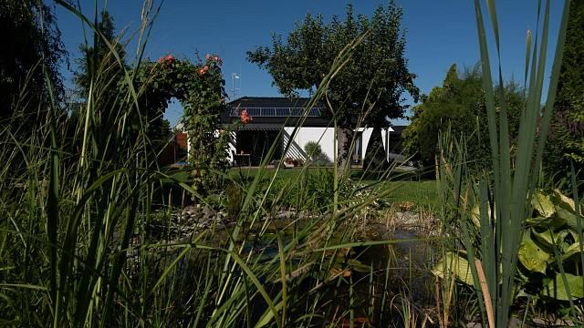 """Úzký kontakt interiéru se zahradou si manželé velmi pochvalují. """"V předchozím domě jsme měli výhled na zahradu omezený, v novém domě ze všech oken hledíme do zahrady. Vidím na ni i z kuchyňského okénka u dřezu. Pořád jsme vlastně v kontaktu s přírodou,..."""