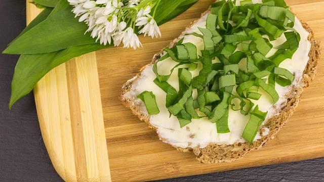 Medvědí česnek můžeme jednoduše nasekat na chleba s máslem nebo lučinou.
