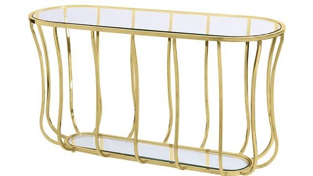 Zlatý konzolový stolek značky Artelore, cena 39 800 Kč