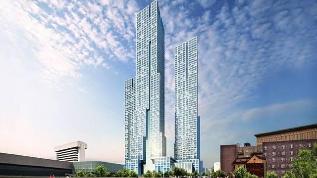 První z věží 'Journal Squared towers', která se začla stavět tento rok a zcela změní tvář New Jersey, USA