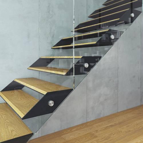 Třmenové schodiště BOX sceloskleněným zábradlím