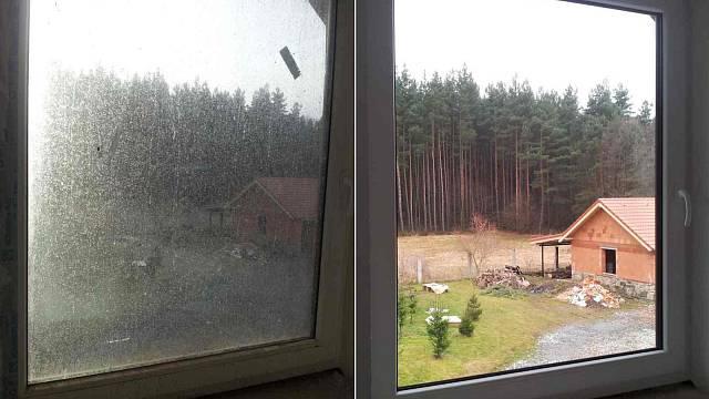 Výhled z okna před a po umytí