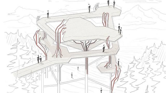 Areál Veverákova stezka, soutěžící Unipark s. r. o.; Vítěz veřejného hlasování v kategorii Velké dřevěné konstrukce – návrhy