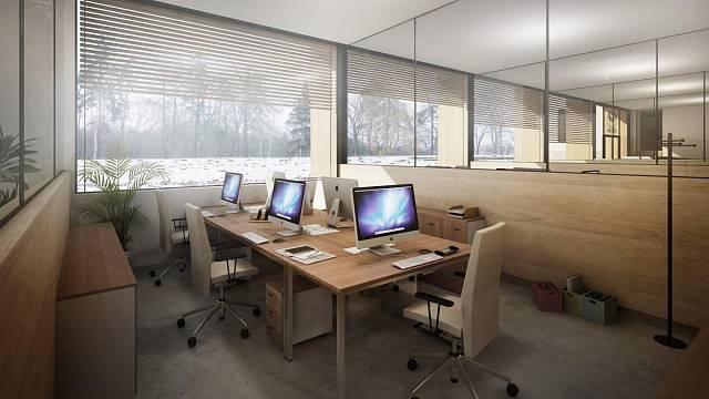 Kanceláře jsou oddělené lehce přemístitelnými příčkami. Je tedy možné jednoduše vytvořit nové dispozice. Třeba i open space pro 40 lidí.