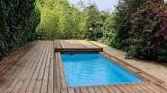 Dřevěný kryt se nad bazénem promění v terasu / Slide Wood www.posuvnekryty.cz
