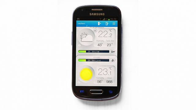 Takhle vypadá v mobilu aplikace. Grafy se zobrazí, když otočíte mobil o 90°