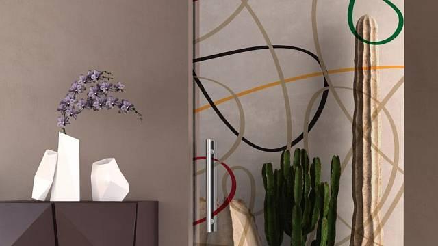 Skleněné dveře propustí do chodby světlo a přitom mohou vypadat i velmi moderně. Stačí je opatřit grafickým vzorem.