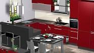 Kuchyni designérka navrhla do tvaru U, nabízí tak dostatek pracovního prostoru a také odděluje kuchyňskou část od obývací.