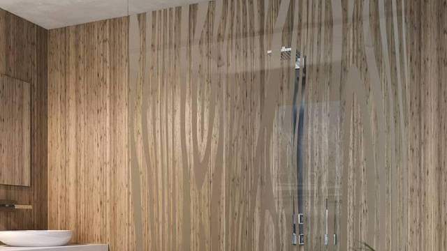Celoskleněný sprchový kout z pískovaného skla