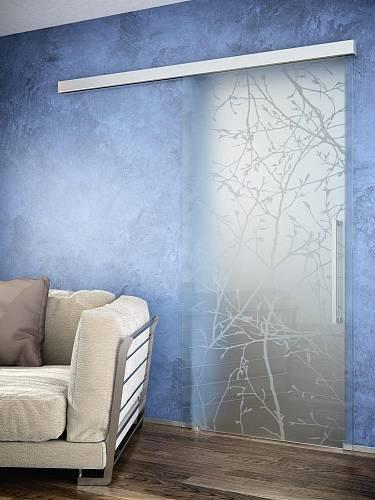 Celoskleněné dveře pískované, posuv po zdi Trix Zero