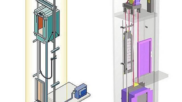 Vlevo hydraulický systém, vpravo lanový systém s protizávažím